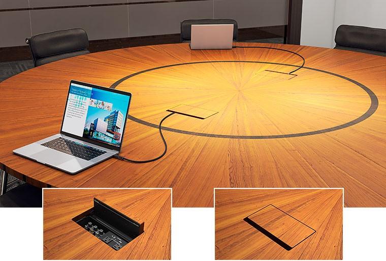 Уже поставляется! Архитектурный лючок Cable Cubby с отделкой под мебель незаметен на вашем столе